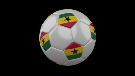 Soccer ball with flag Ghana, 3d rendering football