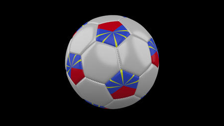 Soccer ball with flag Reunion, 3d rendering football 版權商用圖片