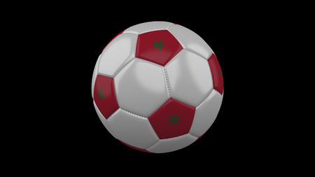 Soccer ball with flag Morocco, 3d rendering football Imagens