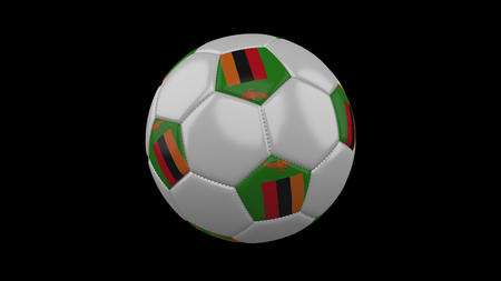 Soccer ball with flag Zambia, 3d rendering football
