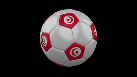 Soccer ball with flag Tunisia, 3d rendering football