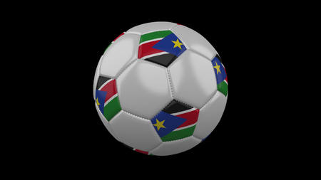 Soccer ball with flag South Sudan, 3d rendering football