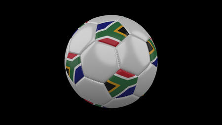 Soccer ball with flag South Africa, 3d rendering football