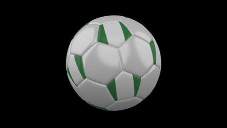 Soccer ball with flag Nigeria, 3d rendering football