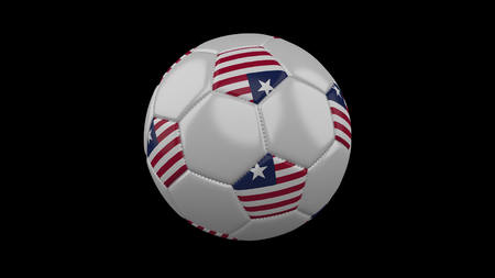 Soccer ball with flag Liberia, 3d rendering football