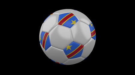 Soccer ball with flag Democratic Republic of the Congo, 3d rendering football