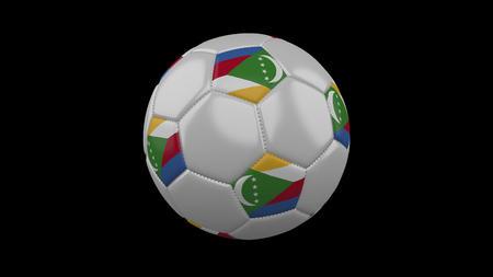 Soccer ball with flag Comoros, 3d rendering football