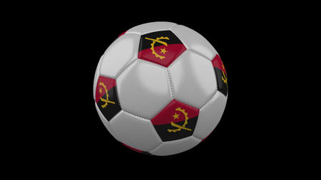 Soccer ball with flag Angola, 3d rendering football