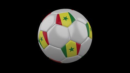 Soccer ball with flag Senegal, 3d rendering football