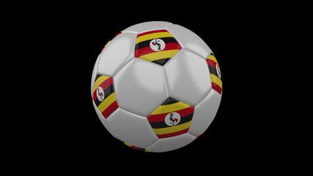 Soccer ball with flag Uganda, 3d rendering football 版權商用圖片
