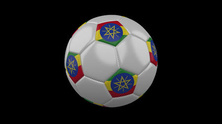 Soccer ball with flag Ethiopia, 3d rendering football