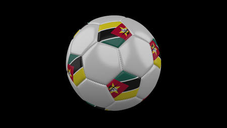 Soccer ball with flag Mozambique, 3d rendering football