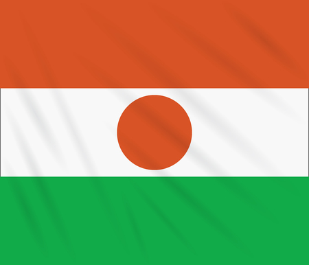 Flag Republic of Niger swaying in wind, realistic vector