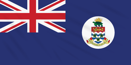 Flag Cayman Islands swaying in wind, realistic vector