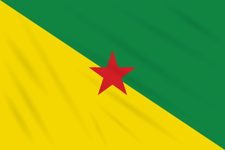 Flag French Guiana swaying in wind, realistic vector Stok Fotoğraf - 122497634