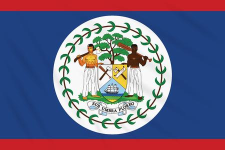 Flag Belize swaying in wind, realistic vector Иллюстрация