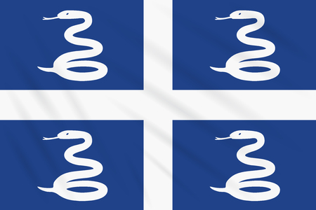 Flag Martinique swaying in wind, realistic vector Illusztráció