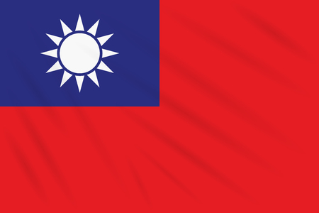 Flag Taiwan swaying in wind, realistic vector
