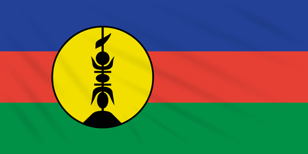 Flag New Caledonia swaying in wind, realistic vector