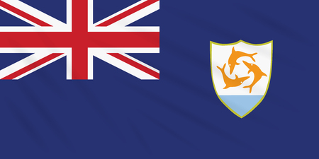 Flag Anguilla swaying in wind, realistic vector Stok Fotoğraf - 122497647