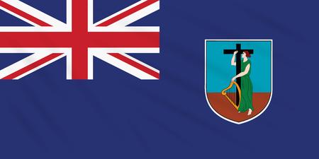 Flag Montserrat swaying in wind, realistic vector