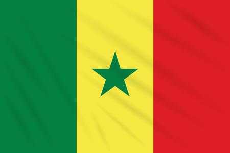 Flag Senegal swaying in wind, realistic vector