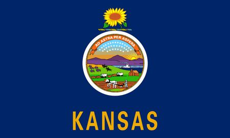Kansas State of America flag, vector image Çizim