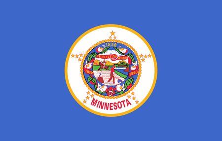 Minnesota State of America flag, vector image Çizim