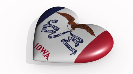 Iowa heart beats and casts a shadow, 3d rendering Stok Fotoğraf - 131053318