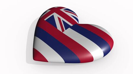 Hawaii heart beats and casts a shadow, 3d rendering
