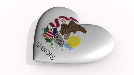 Illinois heart beats and casts a shadow, 3d rendering Stok Fotoğraf - 131053343