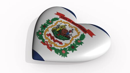 West Virginia heart beats and casts a shadow, 3d rendering