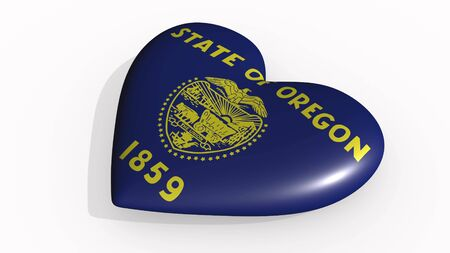 Oregon heart beats and casts a shadow, 3d rendering