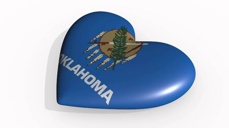 Oklahoma heart beats and casts a shadow, 3d rendering Stok Fotoğraf