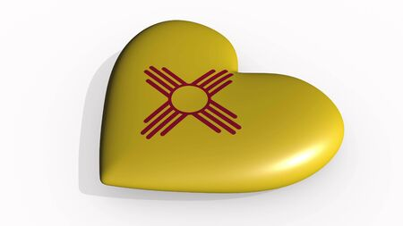 New Mexico heart beats and casts a shadow, 3d rendering