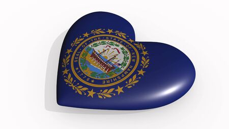 New Hampshire heart beats and casts a shadow, 3d rendering