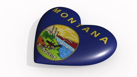 Montana heart beats and casts a shadow, 3d rendering