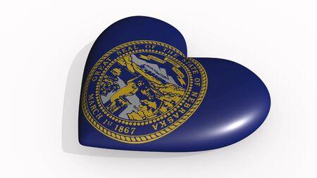 Nebraska heart beats and casts a shadow, 3d rendering