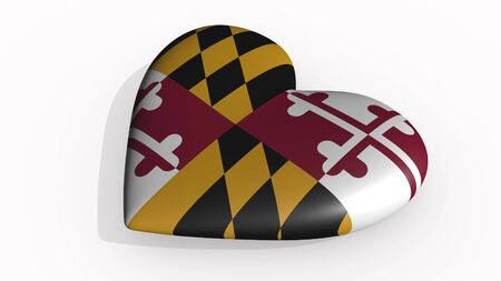 Maryland heart beats and casts a shadow, 3d rendering