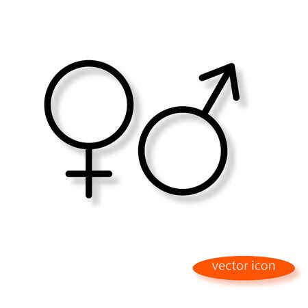 Simple vector line casting a shadow of the symbols of female and male organisms or planets Venus and Mars, line icon, flat style