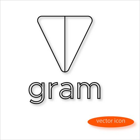 Variant gram cryptocurrency symbol drawn by thin line casting a shadow, vector