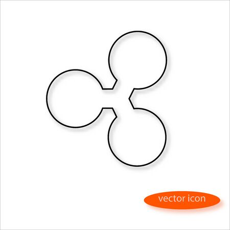 Ripple cryptocurrency symbol drawn by thin line casting a shadow, vector