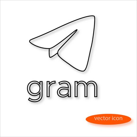 Gram cryptocurrency symbol drawn by thin line casting a shadow, vector