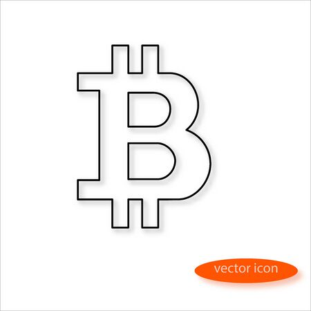 Bitcoin cryptocurrency symbol drawn by thin line casting a shadow, vector