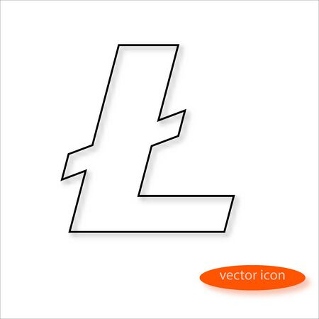 Lightcoin cryptocurrency symbol drawn by thin line casting a shadow, vector Illustration