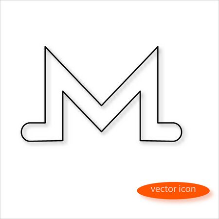 Monero cryptocurrency symbol drawn by thin line casting a shadow, vector