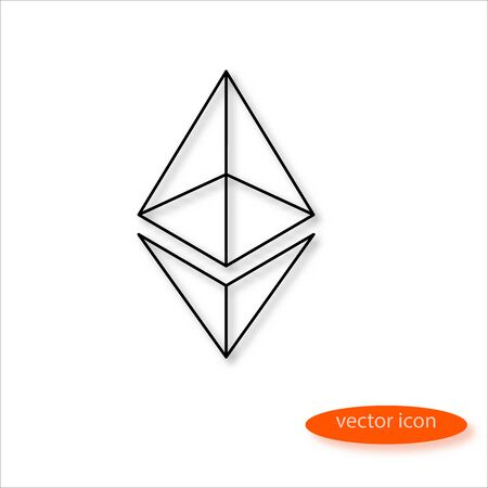 Ethereum cryptocurrency symbol drawn by thin line casting a shadow, vector Illustration