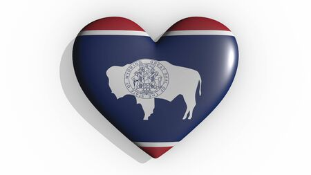 Heart with flag of usa state Wyoming casting a shadow on white background, St. Valentines Day, 3d rendering Stock Photo