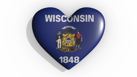 Heart with flag of usa state Wisconsin casting a shadow on white background, St. Valentines Day, 3d rendering