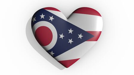 Heart with flag of usa state Ohio casting a shadow on white background, St. Valentines Day, 3d rendering Stok Fotoğraf